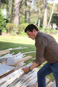 Rick Walker working on his home damaged in the Harvey flood